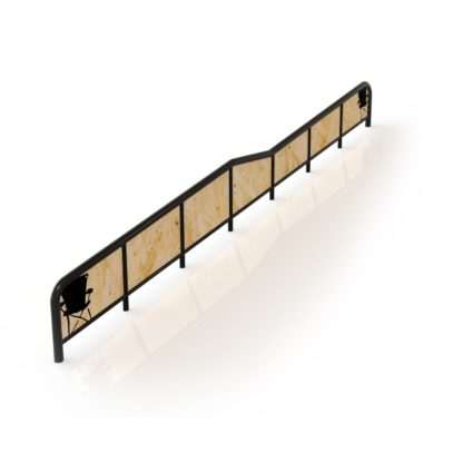 Colab's DFD / double kink rail. Midwest Grind Rails by Colab Brand. Designed and Built in Minnesota, for skiing and snowboarding terrain parks, ropetow / towrope parks, and railyards.